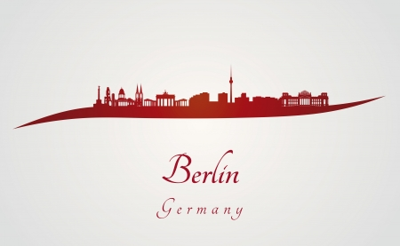 berlin: Berlin skyline in red and gray background in editable vector file
