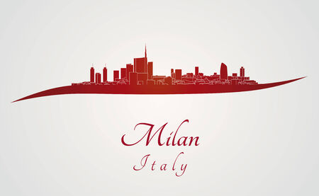 Milan skyline in red and gray background in editable vector file Vector
