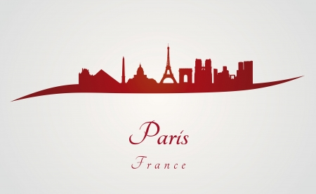 city landscape: Paris skyline in red and gray background in editable vector file