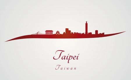 grey background: Horizonte de Taipei en fondo rojo y gris en el archivo vectorial editable