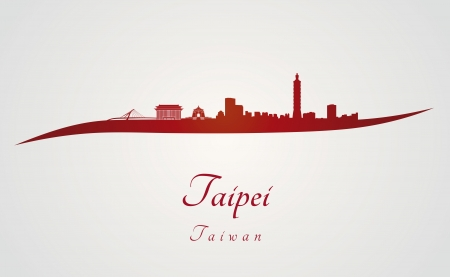 Taipei skyline in red and gray background in editable vector file