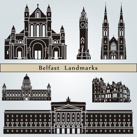 belfast: Belfast landmarks and monuments isolated on blue background in editable vector file
