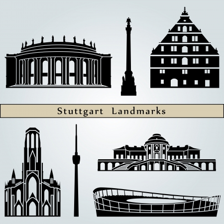 stuttgart: Stuttgart landmarks and monuments isolated on blue background in editable vector file