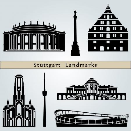 stuttgart: Stuttgart landmarks and monuments isolated on blue background in editable vector file