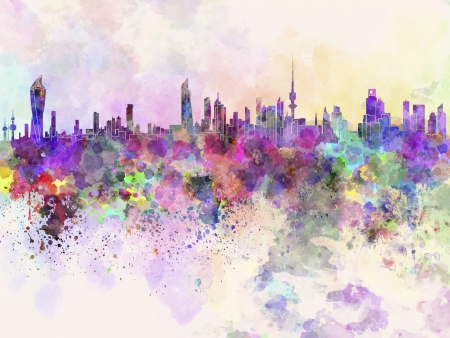 kuwait: Kuwait City skyline in watercolor