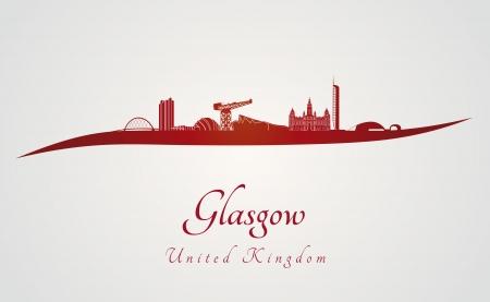 glasgow: Glasgow skyline in red and gray