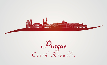 Prague skyline in red and gray Vector