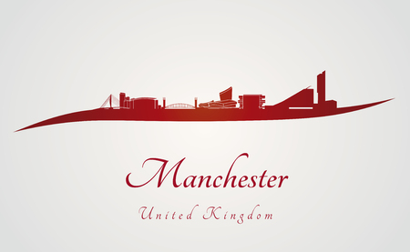 manchester: Manchester skyline in red and gray