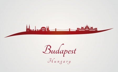 Budapest skyline in red and gray background in editable vector file Illusztráció