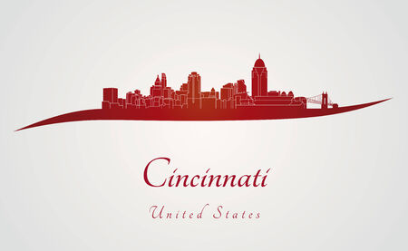 urban landscapes: Cincinnati skyline in red and gray background in editable vector file Illustration
