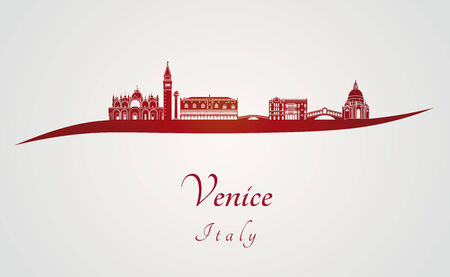Venice skyline in red and gray background in editable vector file Vector