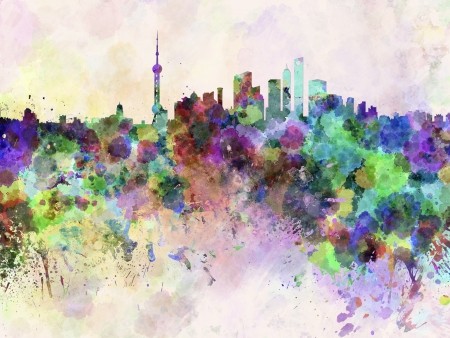 shanghai skyline: Shanghai skyline in watercolor background