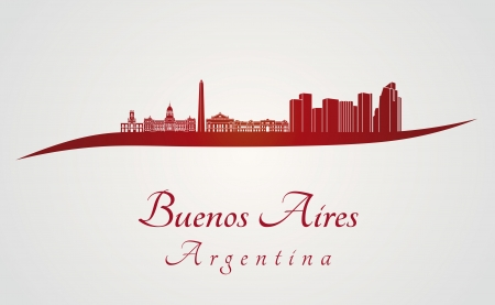 aires: Buenos Aires skyline in red and gray background in editable vector file