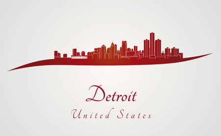 Detroit skyline in red and gray background in editable vector file Vector