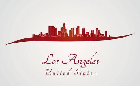 los angeles: Skyline von Los Angeles in rot und grau Hintergrund in bearbeitbare Vektordatei