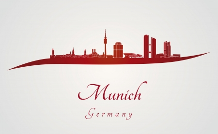 뮌헨: 편집 가능한 벡터 파일에 빨간색과 회색 배경에있는 뮌헨의 스카이 라인