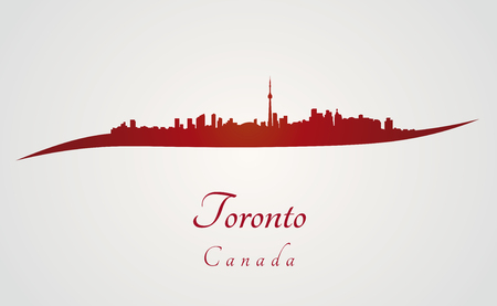 toronto: Toronto skyline in red and gray background in editable vector file