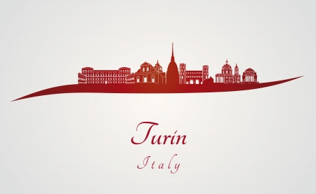 Turin skyline in red and gray background in editable vector file Illustration