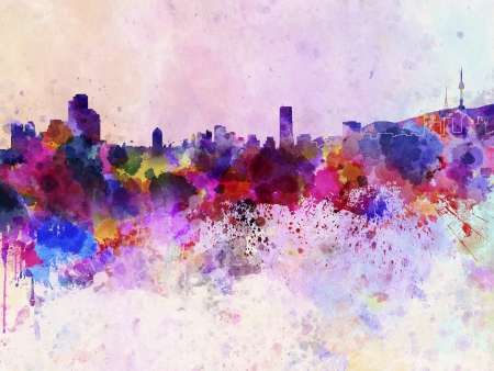 seoul: Seoul skyline in watercolor background
