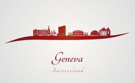 Horizon Genève en fond rouge et gris dans le fichier vectoriel éditable Banque d'images - 24827620