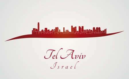 Tel Aviv skyline in red and gray background in editable vector file Vector