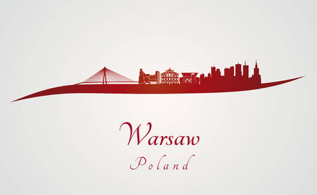 warsaw: Warsaw skyline in red and gray background in editable vector file Illustration