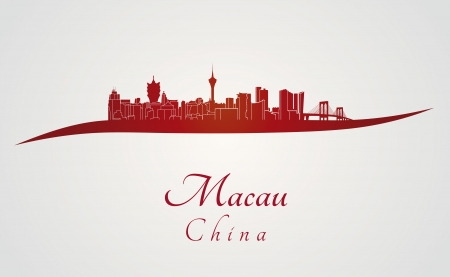 Macau skyline in red and gray background in editable vector file