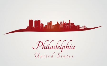 Philadelphia skyline in red and gray background in editable vector file Vector