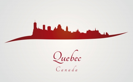 Quebec skyline in red and gray background in editable vector file Vector