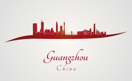 Guangzhou skyline in red and gray in editable vector file