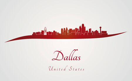 Dallas skyline in red and gray in editable vector file Vector