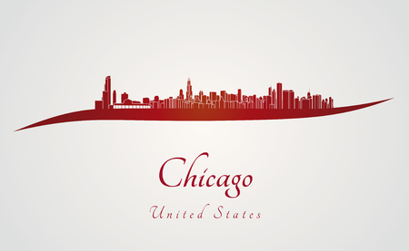 Chicago skyline in red and gray in editable vector file Vector