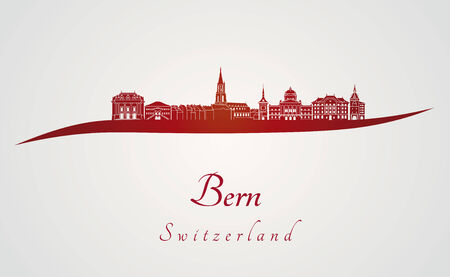 europe cities: Bern skyline in red and gray in editable vector file