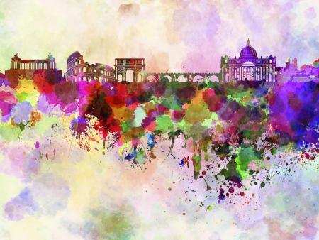 Roma skyline in sfondo acquerello