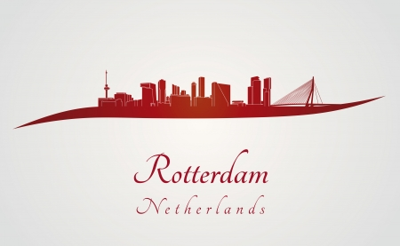 rotterdam: Rotterdam skyline in red and gray background in editable vector file Illustration