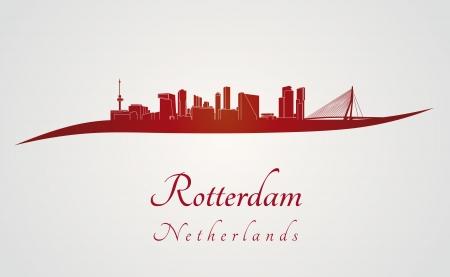 Skyline van Rotterdam op rode en grijze achtergrond in bewerkbare vector-bestand