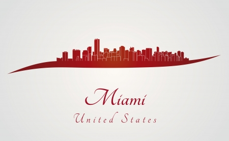 miami: Miami skyline in red and gray background in editable vector file