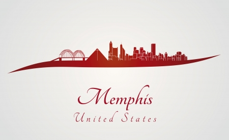 memphis: Memphis skyline in red and gray background in editable vector file