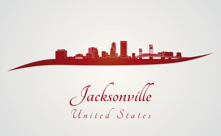 Jacksonville skyline in red and gray background in editable vector file Illustration