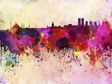 turkey istanbul: Istanbul skyline in watercolor background