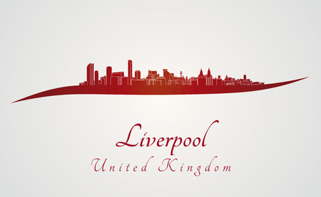 Liverpool skyline in red and gray background in editable vector file Vector