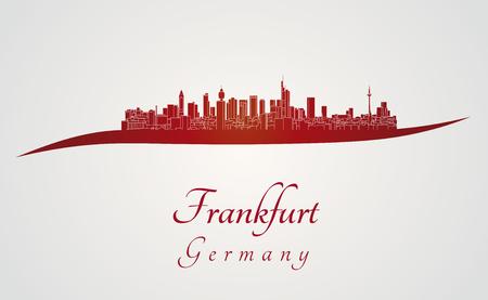 frankfurt germany: Frankfurt skyline in red and gray background in editable vector file Illustration