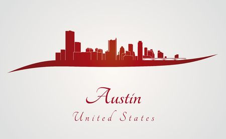 Austin skyline in red and gray background in editable vector file