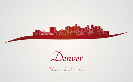 Denver skyline in red and gray background in editable vector file Vector
