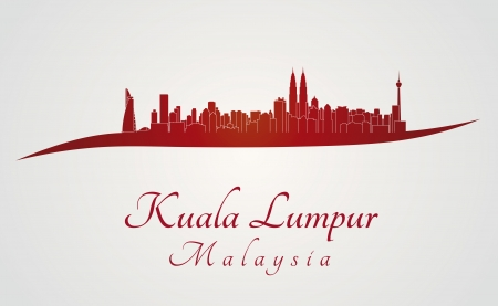 city landscape: Kuala Lumpur skyline in red and gray background in editable vector file Illustration
