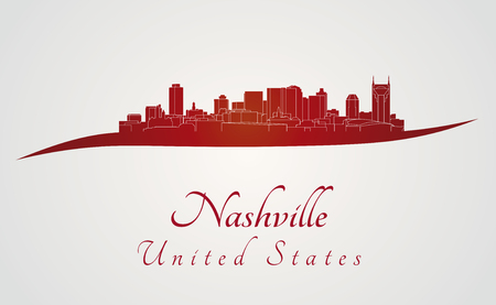 nashville: Nashville skyline in red and gray background in editable vector file
