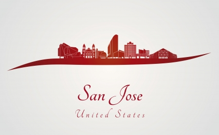 jose: San Jose skyline in red and gray background in editable vector file Illustration