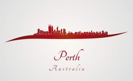 Perth skyline in red and gray background in editable vector file Vektorové ilustrace