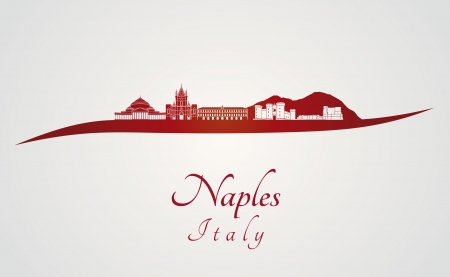 naples: Naples skyline in red and gray background in editable vector file Illustration