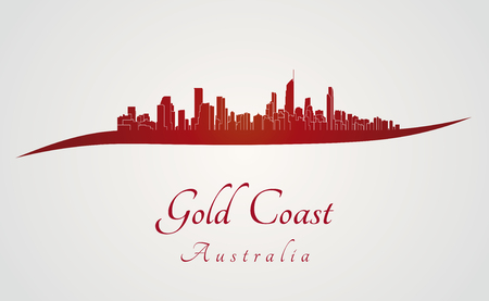 gold coast: Gold Coast skyline in red and gray background in editable vector file